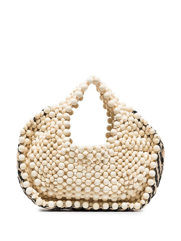Aranaz woven-detail beaded tote bag in neutrals