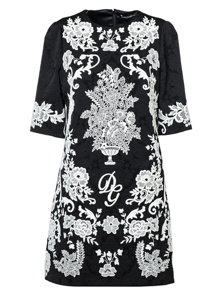 Dolce & Gabbana Floral Embroidered Jacquard Dress in black / white