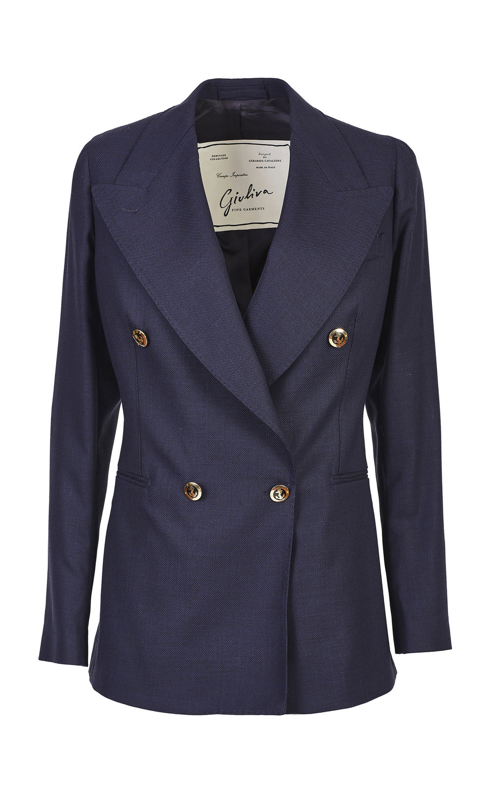 Giuliva Heritage Collection Double-Breasted Wool Blazer in blue