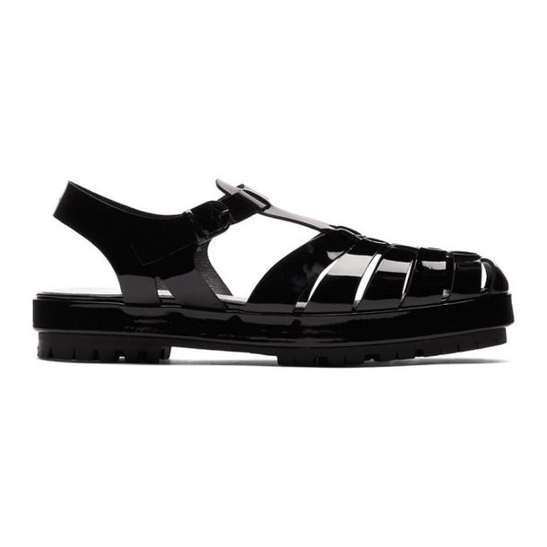 Maison Margiela Black Linin Strappy Sandals