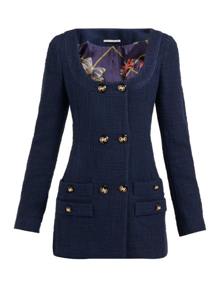 Alessandra Rich - Double Breasted Cotton Blend Tweed Mini Dress - Womens - Navy