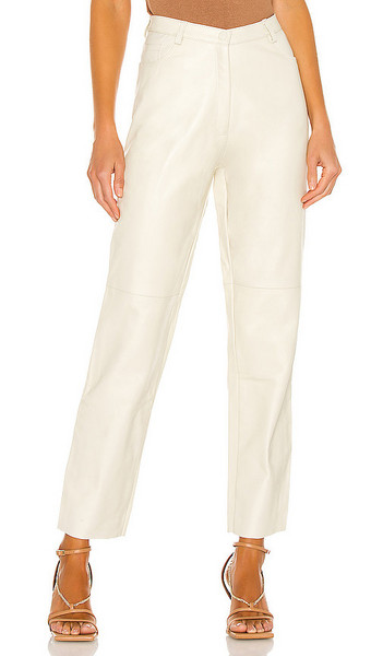 Tach Clothing Dilma Leather Pant in Cream in ivory