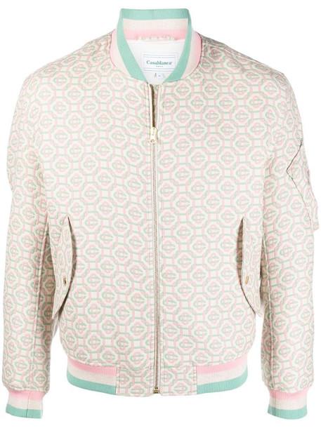 Casablanca geometric-print zip-up bomber jacket in neutrals