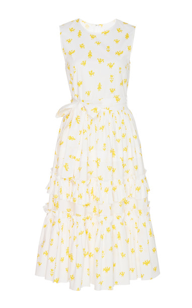 Carolina Herrera Ruffled Printed Cotton-Blend Dress in white