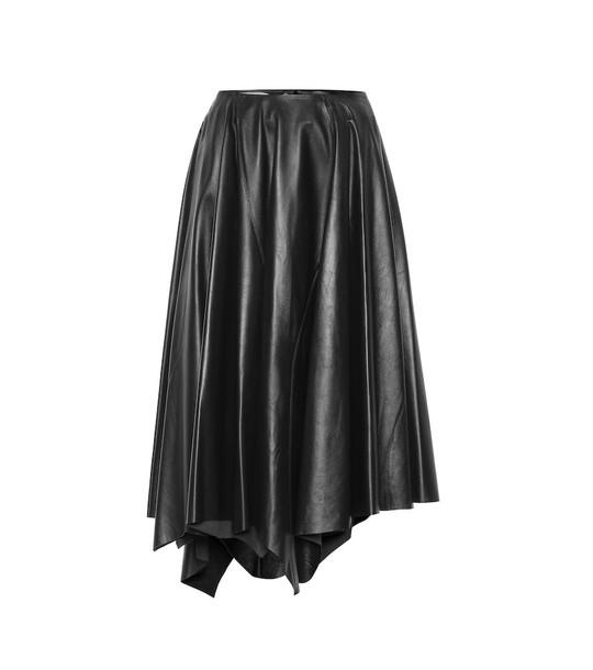 Marni Leather midi skirt in black