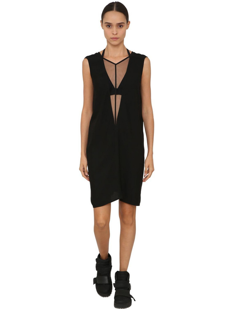 RICK OWENS Cady & Tulle Mini Dress in black