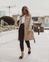 shoes,black sandals,bottega veneta,black pants,long coat,white top