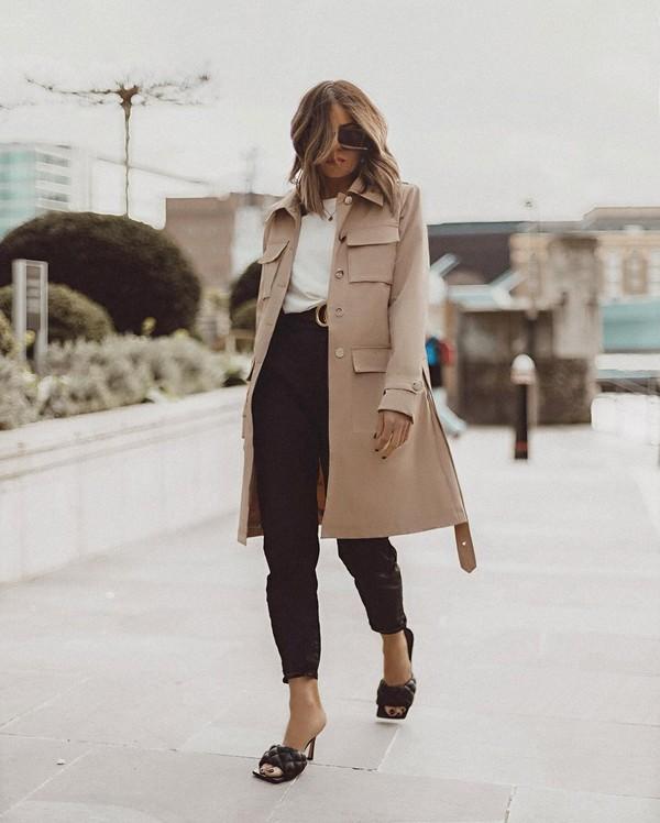 shoes black sandals bottega veneta black pants long coat white top