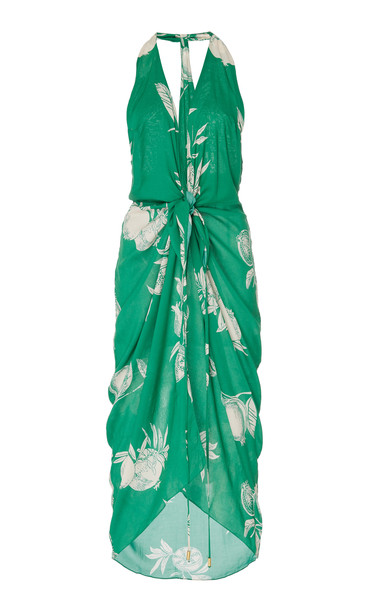 Salinas Halter-Neck Printed Cotton-Jersey Cover Up in green