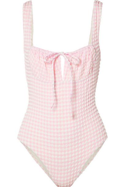 Solid & Striped - The Ellery Gingham Seersucker Swimsuit - Baby pink