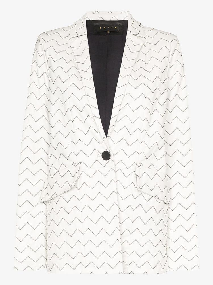 Skiim Magda zigzag leather blazer in white