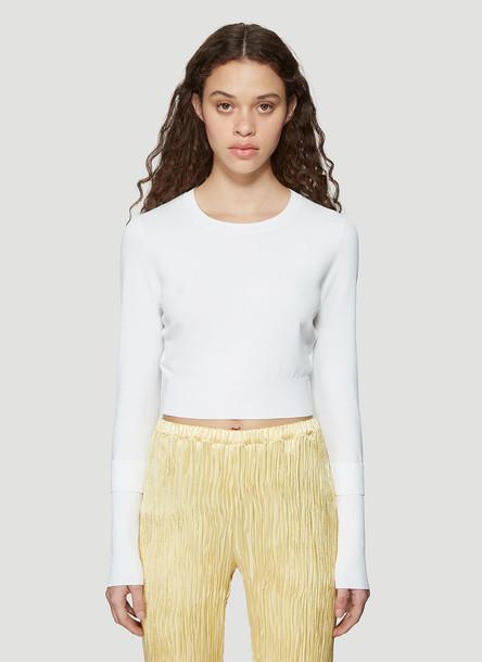 Sies Marjan Long Sleeve Fine Knit Crew Neck Sweater in White size S