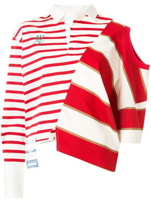 Maison Mihara Yasuhiro asymmetric striped T-shirt in red