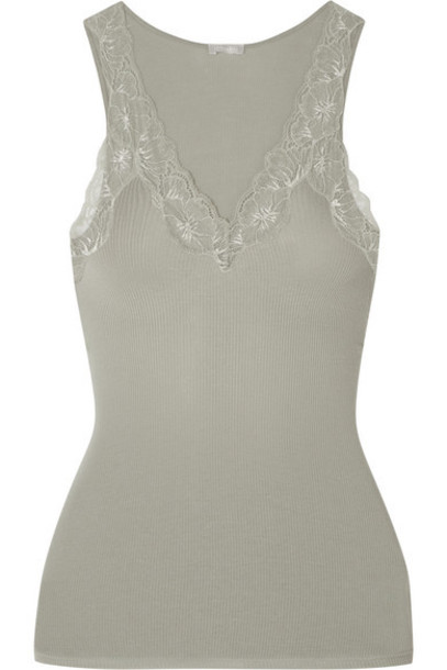 Hanro - Lace-trimmed Ribbed Cotton-jersey Camisole - Gray green