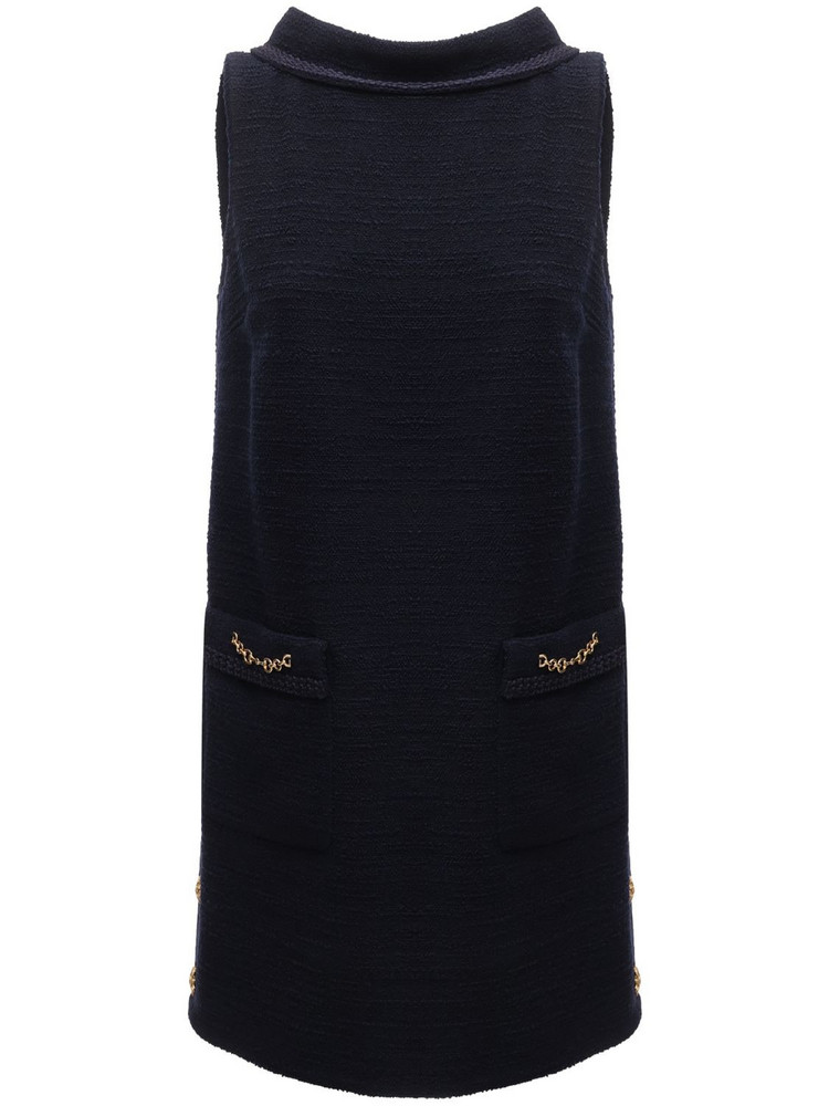 GUCCI Sleeveless Wool Tweed Crepe Mini Dress in blue