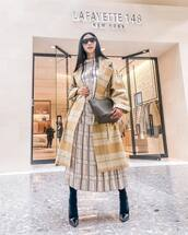 coat,long coat,plaid,oversized coat,midi dress,pleated dress,plaid dress,pumps,tights,crossbody bag