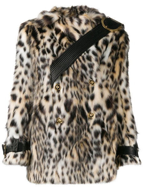 Versace double-breasted leopard print faux-fur coat in white