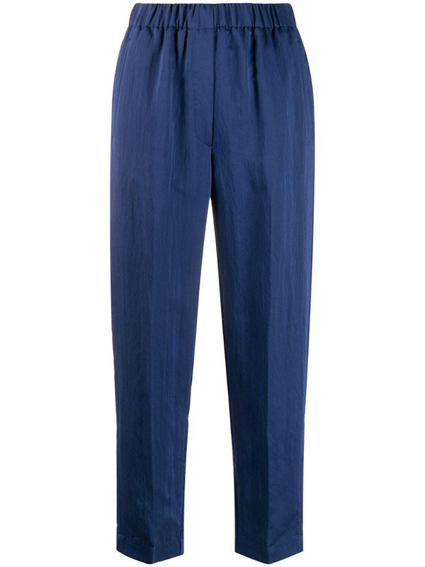 Forte Forte elasticated-waist cropped trousers in blue