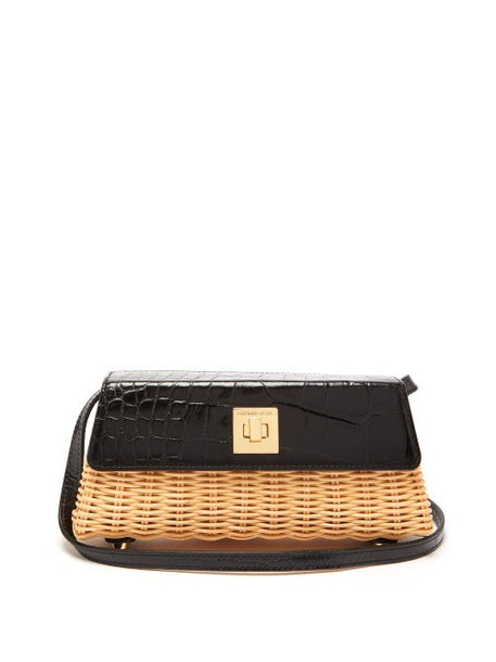 Sparrows Weave - The Clutch Wicker And Leather Cross Body Bag - Womens - Black