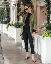 jeans,black jeans,ballet flats,army green jacket,black sweater,black sunglasses