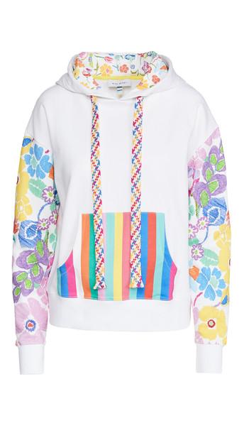 Mira Mikati Rainbow Floral Print Hoodie in white / multi