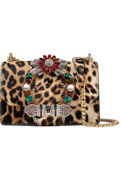 Miu Miu - Cavallino Crystal-embellished Leopard-print Calf Hair Shoulder Bag - Leopard print