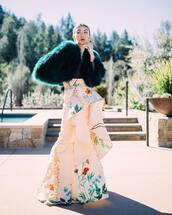 coat,faux fur coat,green coat,maxi skirt,floral skirt,pink skirt