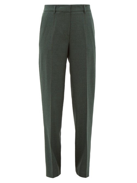 Gabriela Hearst - Francisco Wool Straight-leg Trousers - Womens - Dark Green