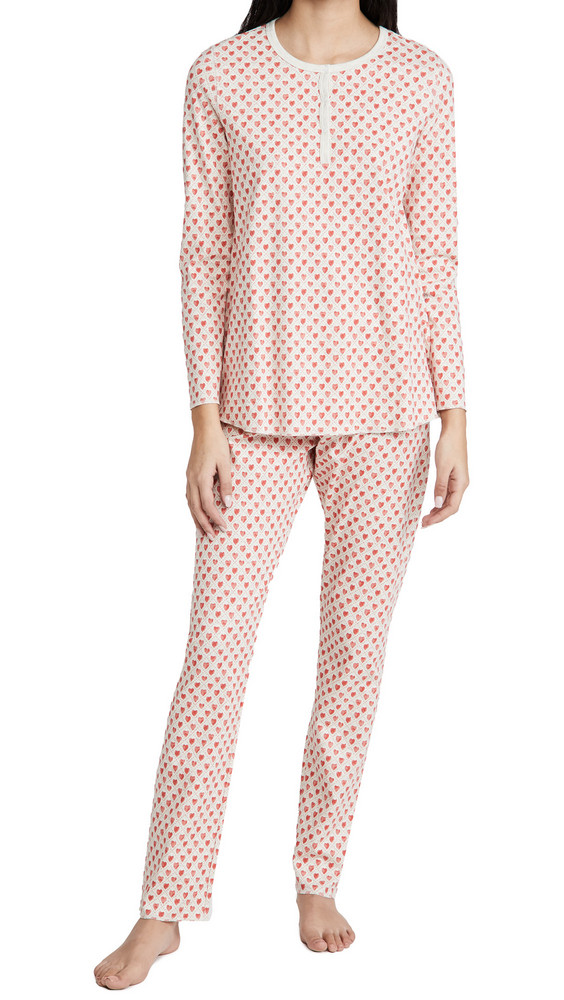 Roller Rabbit Quilted Hearts Pajamas in coral