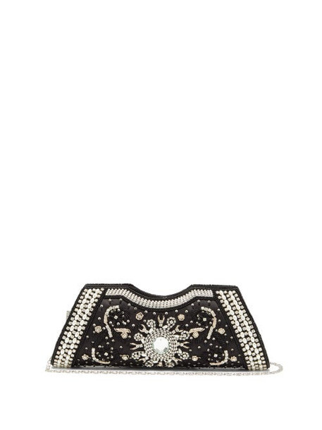 Shrimps - Dallas Crystal, Faux-pearl And Beaded Satin Clutch - Womens - Black