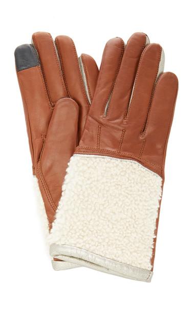 Maison Fabre Shearling Cuff Lambskin Gloves Size: 6.5 in brown