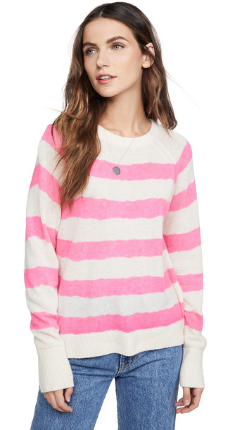 White + Warren White + Warren Printed Stripe Essential Cashmere Sweatshirt
