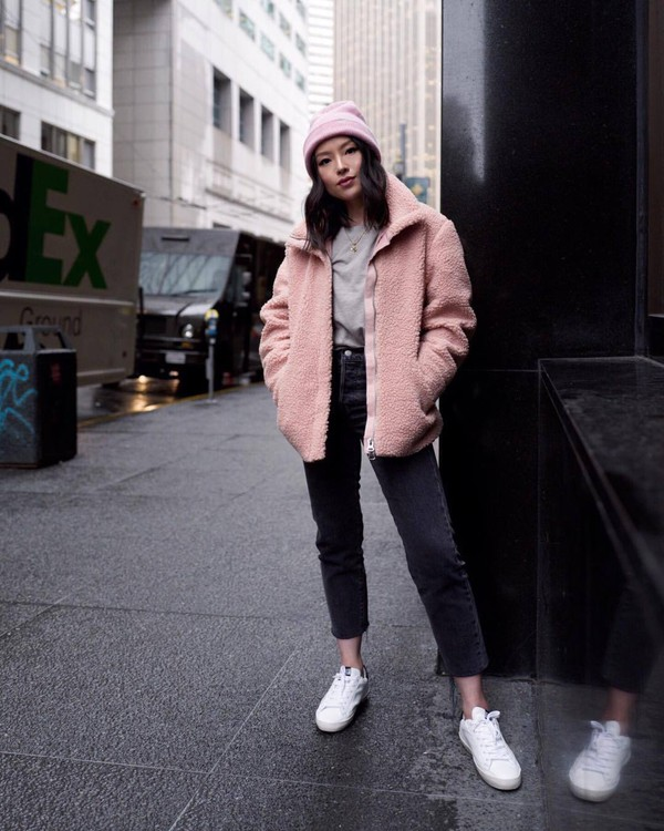 jacket pink jacket teddy jacket white sneakers black jeans high waisted jeans cropped jeans sweater beanie