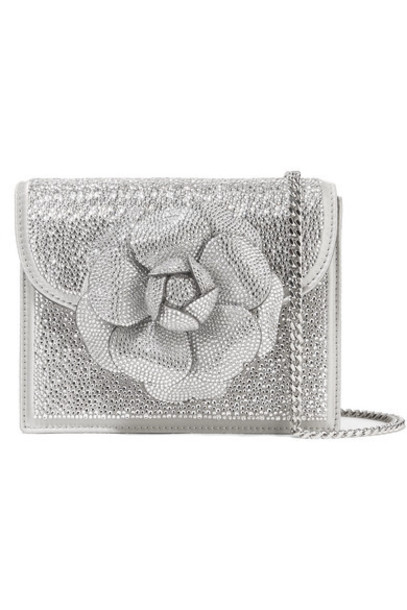 Oscar de la Renta - Tro Crystal-embellished Leather Shoulder Bag - Silver