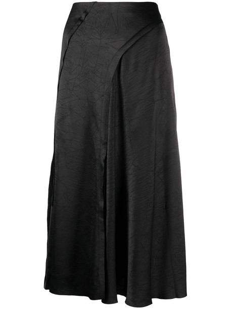 Vince A-line satin skirt in black