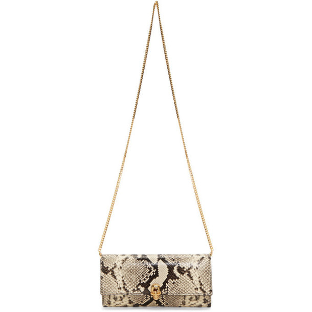 Alexander McQueen Off-White and Black Python Skull Wallet On Chain Bag