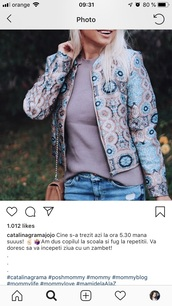 jacket,pink blue mozaic