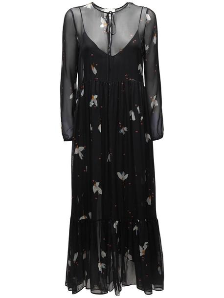 FORTE FORTE Printed Silk Chiffon Midi Dress in black