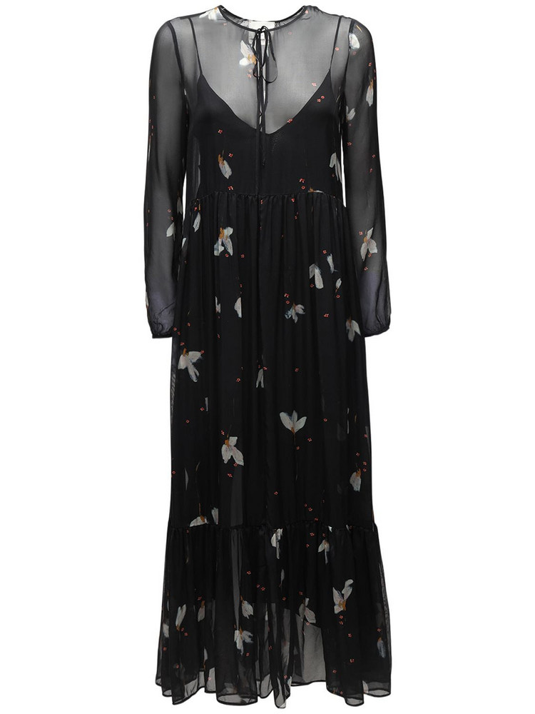 FORTE FORTE Printed Silk Chiffon Midi Dress in black