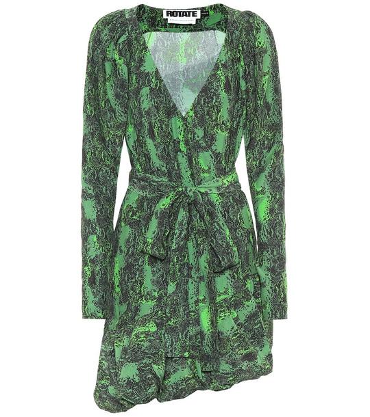 ROTATE BIRGER CHRISTENSEN Nancy snake-print mini wrap dress in green