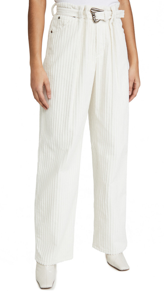 By any Other Name Pleated Utility Pants with Self Belt in white