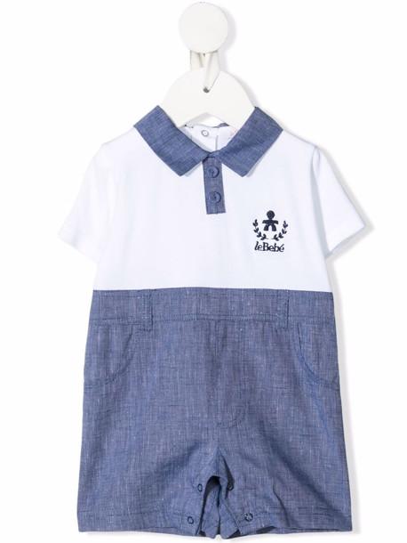 Le Bebé Enfant embroidered-logo short-sleeved romper - Blue