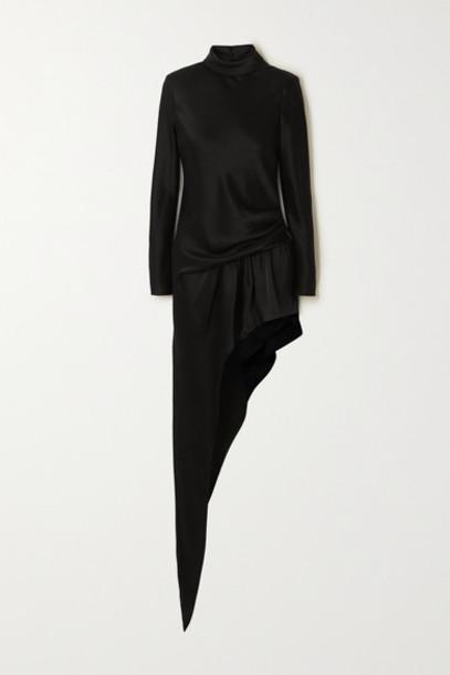 Alexander Wang - Asymmetric Gathered Satin Turtleneck Mini Dress - Black
