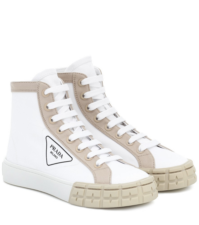 Prada Wheel high-top sneakers in white