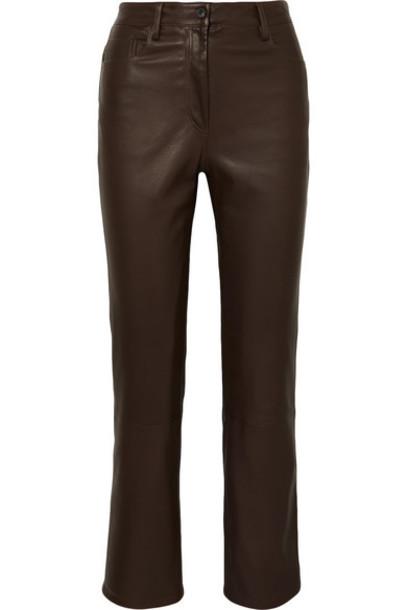 The Row - Charlee Leather Straight-leg Pants - Brown