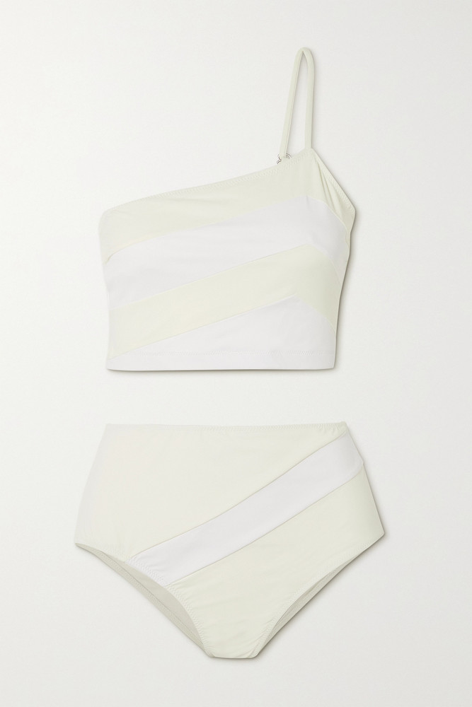 ZEUS + DIONE ZEUS + DIONE - Vathi One-shoulder Striped Bikini - Off-white