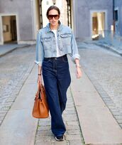 jeans,wide-leg pants,high waisted jeans,denim jacket,cropped jacket,sneakers,bag