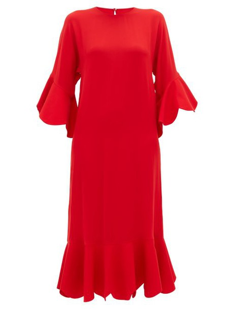 Valentino - Ruffle Trimmed Silk Dress - Womens - Red