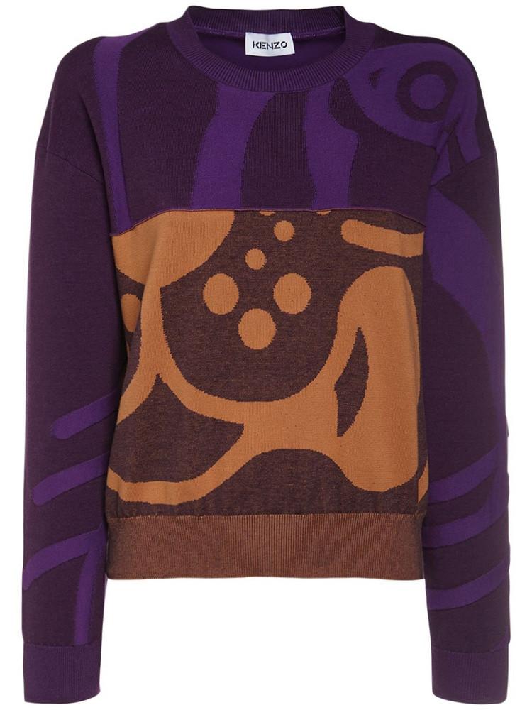 KENZO K-tiger Intarsia Cotton Knit Sweater in orange / purple