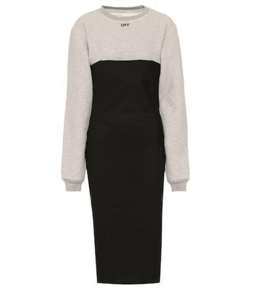 Off-White Cotton-blend midi dress in black